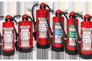 Auflade-Feuerlöscher von TOTAL: vielfältige Löschmittel, einheitliche Benutzerführung durch Piktogramme.
