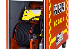 """Löschcontainer """"LC 250 P"""": kompakter, hochformatiger Aufbau für maximale Beweglichkeit im Gebäude.<br />"""