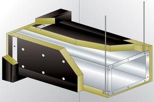 """Dieses Profil aus dem ROCKWOOL """"Conlit"""" System wird mit selbstschneidenden Schrauben mit dem Stahlblechkanal verschraubt und bildet so einen stabilen Rahmen und eine sichere Abdichtung der Bauteilfuge zwischen Kanal und Wand im Durchführungsbereich."""