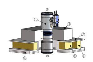Holzbalkendecke 1. Brandschutzklappe FKRS-EU 2. Holzbalkendecke 3. Bezon 4. Holzbalken 5. Auswechslung 6. Brandschutztechnische Bekleidung<br /><br />