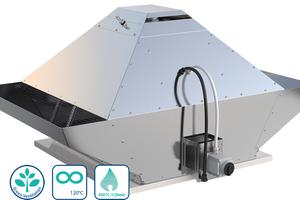 Der Brandgas-Dachventilator DVG EC von Systemair erfüllt alle gesetzlichen Anforderungen für den Dual-Use-Betrieb: die tägliche Bedarfsbelüftung plus die Entrauchung im Brandfall.