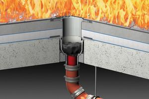 ACO Bodenablauf Passavant nach Verschluss des oberen Brandschotts.<br />