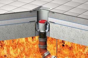 ACO Bodenablauf Passavant mit aktivierter Brandschutz-Kartusche gegen Feuer von unten.<br />