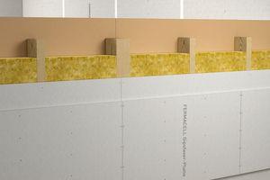 Abbildung 6: Wandelementstoß – Gebäudeabschlusswand —  Zum Schutz des Wandtafeltransportes wird vielfach bei erforderlichen überstehenden Bekleidungen u. a. eine Dachlatte fixiert, um den Kantenschutz zu gewähren. Diese wird dann beim Stellen der Wandelemente auf der Baustelle entfernt, so dass das Zusammenfügen ermöglicht wird. <br />