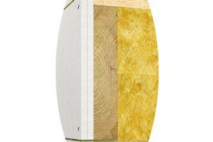 Abbildung 5: Deckenanschluss – Gebäudeabschlusswand (außen) —  Eine weitere Alternative stellt die Variante dar, die unter Verwendung einer nichtbrennbaren Mineralwolle eine Montagefuge von £ 10 mm zulässt und so auch eine raumseitige Montage ermöglicht. <br />