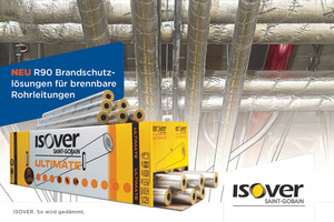 """<div class=""""bildtext"""">Aktuelle Broschüre """"Die 2-in-1-Lösung für optimalen Brand- und Wärmeschutz"""" mit sämtlichen Informationen zur neuen """"U Protect Pipe Section Alu2""""-Rohrschale von Isover</div>"""