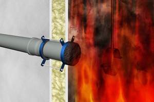 """<div class=""""bildtext"""">Dank der Brandschutzmanschette wird der Brandraum sicher abgeschottet.</div>"""