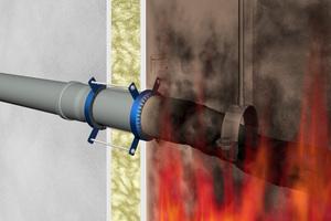 """<div class=""""bildtext"""">Im Brandfall wird das Rohr durch die Hitzeeinwirkung weich. Parallel beginn die Manschette damit, aufzuquellen.</div>"""