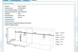 """<div class=""""bildtext"""">Die Detailansicht zeigt den maximal signalisierten Raum sowie die Montageposition (hier Wandmontage) eines Schallgebers.</div>"""
