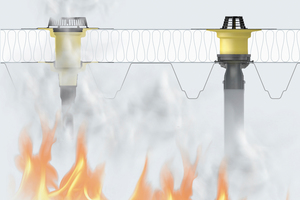"""<div class=""""bildtext"""">Wenn`s brennt: Wirkt Hitze von unten ein, dehnt sich die Brandschutzmanschette aus und drückt den Anschlussstutzen ab. Die Dachöffnung wird verschlossen.</div>"""