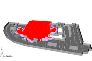 """<div class=""""bildtext"""">Simulation einer Rauchverteilung in einer Tiefgarage nach 15 Minuten Brand, ohne Deckenlüfter.</div>"""