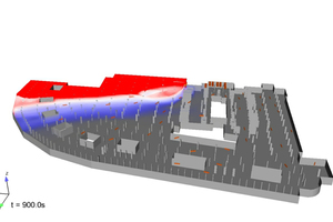 """<div class=""""bildtext"""">Simulation einer Rauchverteilung in einer Tiefgarage nach 15 Minuten Brand, mit Deckenlüfter.</div>"""