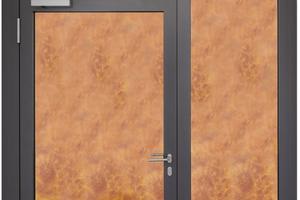 """<div class=""""bildtext"""">Bereits nach CE-Zertifizierung von FOPPE lieferbar: 1flg. Brandschutztürelement mit Seitenteilen und Oberlichtern für den Außenbereich, Kombination EI230 C5-S200 (EN 16034 und EN 14351-1)</div>"""