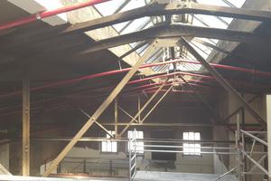 """<div class=""""bildtext"""">Wie das Gewölbe einer Kathedrale erstrecken sich über viele Dutzend Meter Stahlstützen und -träger unter den beiden Hallendächern. Aufgrund der Nutzungsänderung der Hallen mussten die Stahlkonstruktionen komplett in F 90-A ertüchtigt werden.</div>"""