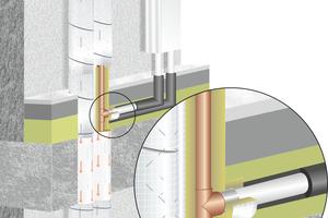 """<div class=""""bildtext"""">Als zugelassen gilt seit Erteilung der neuen aBG nun auch diese Variante: Um den Anschluss einer brennbaren Leitung auchinnerhalb der brandschutztechnisch notwendigen weiterführenden Dämmung abzusichern, muss lediglich eine nichtbrennbare Dämmung des Anschlussstückes über ca. 50 mm erfolgen.</div>"""