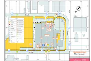 """<div class=""""bildtext"""">Feuerwehrplan einer Industriehalle mit Kopfbau nach DIN 14095.</div>"""