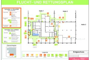 """<div class=""""bildtext"""">Flucht- und Rettungsplan, Erdgeschoss Kopfbau auf Vorlage in DIN A 3.</div>"""
