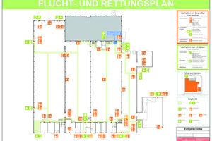 """<div class=""""bildtext"""">Flucht- und Rettungsplan, Lager-/Produktionsbereich auf Vorlage in DIN A 2.</div>"""