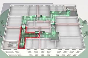 """<div class=""""bildtext"""">Dynamische Fluchtweglenkungssysteme sperren im Brandfall gefährdete Bereiche und leiten aus ihnen heraus bzw. um sie herum.</div>"""