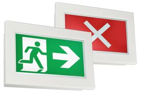 """<div class=""""bildtext"""">Dynamische Rettungszeichenleuchten sind richtungsvariabel, sperren gefährdete Bereiche und zeigen einen sicheren Weg aus dem Gebäude an.</div>"""