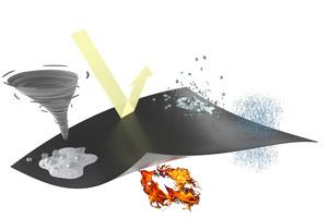"""<div class=""""bildtext"""">Neben sehr guten Brandschutzeigenschaften erfüllt """"Teroson FO 2 FR"""" auch alle technischen Anforderungen an eine Dichtfolie. Das Material ist elastisch und dampfoffen, der Wetterschutz langfristig gegeben.</div>"""